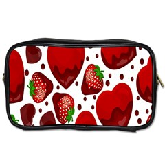 Strawberry Hearts Cocolate Love Valentine Pink Fruit Red Toiletries Bags 2 Side by Alisyart