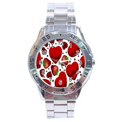 Strawberry Hearts Cocolate Love Valentine Pink Fruit Red Stainless Steel Analogue Watch