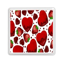 Strawberry Hearts Cocolate Love Valentine Pink Fruit Red Memory Card Reader (square)