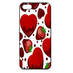 Strawberry Hearts Cocolate Love Valentine Pink Fruit Red Apple Iphone 5 Seamless Case (black)