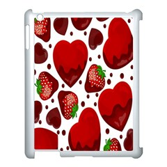 Strawberry Hearts Cocolate Love Valentine Pink Fruit Red Apple Ipad 3/4 Case (white)