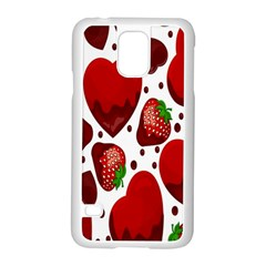Strawberry Hearts Cocolate Love Valentine Pink Fruit Red Samsung Galaxy S5 Case (white)