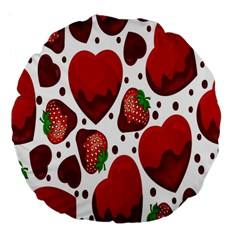 Strawberry Hearts Cocolate Love Valentine Pink Fruit Red Large 18  Premium Flano Round Cushions
