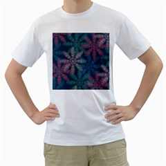Spring Flower Red Grey Green Blue Men s T Shirt (white) (two Sided)
