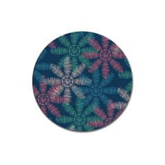 Spring Flower Red Grey Green Blue Magnet 3  (round)