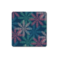 Spring Flower Red Grey Green Blue Square Magnet
