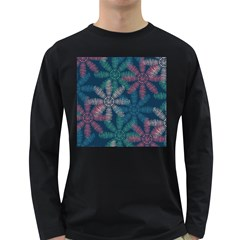Spring Flower Red Grey Green Blue Long Sleeve Dark T Shirts
