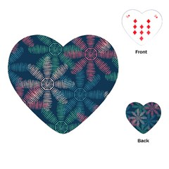 Spring Flower Red Grey Green Blue Playing Cards (heart)