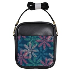 Spring Flower Red Grey Green Blue Girls Sling Bags