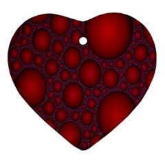 Voronoi Diagram Circle Red Heart Ornament (two Sides)