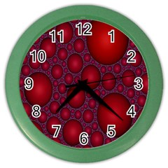 Voronoi Diagram Circle Red Color Wall Clocks