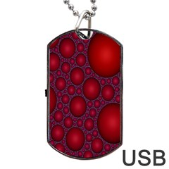 Voronoi Diagram Circle Red Dog Tag Usb Flash (one Side)