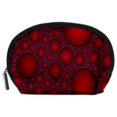 Voronoi Diagram Circle Red Accessory Pouches (large)