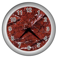 Texture Stone Red Wall Clocks (silver)