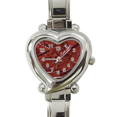 Texture Stone Red Heart Italian Charm Watch