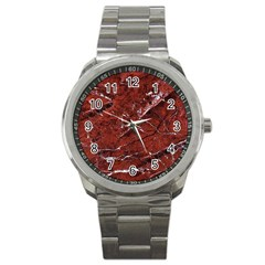 Texture Stone Red Sport Metal Watch by Alisyart