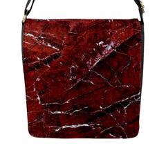 Texture Stone Red Flap Messenger Bag (l)  by Alisyart