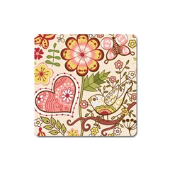 Seamless Texture Flowers Floral Rose Sunflower Leaf Animals Bird Pink Heart Valentine Love Square Magnet