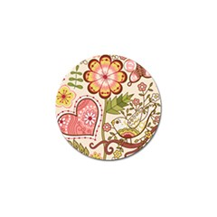 Seamless Texture Flowers Floral Rose Sunflower Leaf Animals Bird Pink Heart Valentine Love Golf Ball Marker (4 Pack)