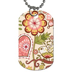Seamless Texture Flowers Floral Rose Sunflower Leaf Animals Bird Pink Heart Valentine Love Dog Tag (two Sides)