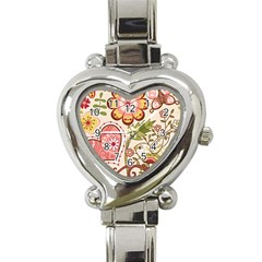 Seamless Texture Flowers Floral Rose Sunflower Leaf Animals Bird Pink Heart Valentine Love Heart Italian Charm Watch