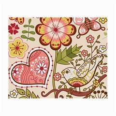 Seamless Texture Flowers Floral Rose Sunflower Leaf Animals Bird Pink Heart Valentine Love Small Glasses Cloth (2 Side)