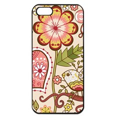 Seamless Texture Flowers Floral Rose Sunflower Leaf Animals Bird Pink Heart Valentine Love Apple Iphone 5 Seamless Case (black)