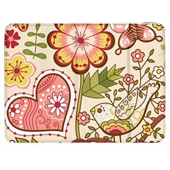 Seamless Texture Flowers Floral Rose Sunflower Leaf Animals Bird Pink Heart Valentine Love Samsung Galaxy Tab 7  P1000 Flip Case