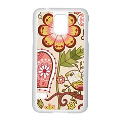 Seamless Texture Flowers Floral Rose Sunflower Leaf Animals Bird Pink Heart Valentine Love Samsung Galaxy S5 Case (white)