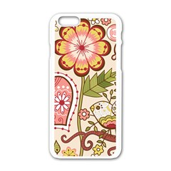 Seamless Texture Flowers Floral Rose Sunflower Leaf Animals Bird Pink Heart Valentine Love Apple Iphone 6/6s White Enamel Case by Alisyart