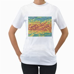 Weather Blue Orange Green Yellow Circle Triangle Women s T-Shirt (White) (Two Sided)