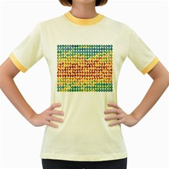 Weather Blue Orange Green Yellow Circle Triangle Women s Fitted Ringer T-Shirts