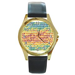 Weather Blue Orange Green Yellow Circle Triangle Round Gold Metal Watch