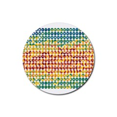 Weather Blue Orange Green Yellow Circle Triangle Rubber Round Coaster (4 pack)