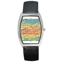 Weather Blue Orange Green Yellow Circle Triangle Barrel Style Metal Watch by Alisyart