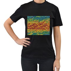 Weather Blue Orange Green Yellow Circle Triangle Women s T-Shirt (Black) (Two Sided)