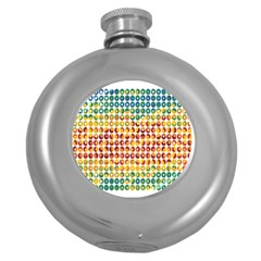Weather Blue Orange Green Yellow Circle Triangle Round Hip Flask (5 oz)