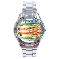 Weather Blue Orange Green Yellow Circle Triangle Stainless Steel Analogue Watch