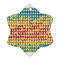 Weather Blue Orange Green Yellow Circle Triangle Snowflake Ornament (Two Sides)