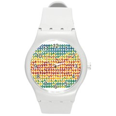 Weather Blue Orange Green Yellow Circle Triangle Round Plastic Sport Watch (M)