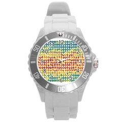 Weather Blue Orange Green Yellow Circle Triangle Round Plastic Sport Watch (L)
