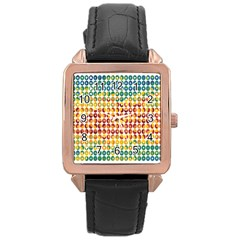 Weather Blue Orange Green Yellow Circle Triangle Rose Gold Leather Watch