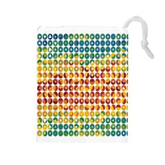 Weather Blue Orange Green Yellow Circle Triangle Drawstring Pouches (Large)