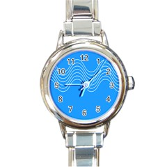 Waves Blue Sea Water Round Italian Charm Watch