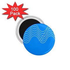Waves Blue Sea Water 1 75  Magnets (100 Pack)
