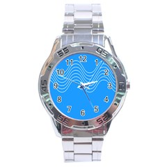 Waves Blue Sea Water Stainless Steel Analogue Watch