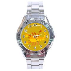Animals Scorpio Zodiac Orange Yellow Stainless Steel Analogue Watch