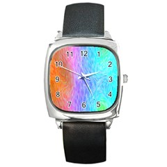 Abstract Color Pattern Textures Colouring Square Metal Watch