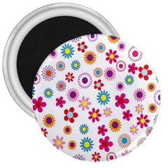 Colorful Floral Flowers Pattern 3  Magnets by Simbadda