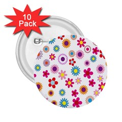 Colorful Floral Flowers Pattern 2 25  Buttons (10 Pack)  by Simbadda